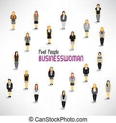 csoport, gyűjt, nagy, vektor, tervezés, üzletasszony