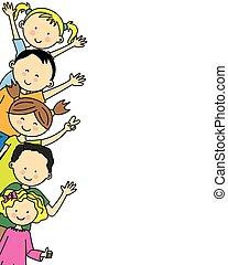 csoport, gyerekek, boldog