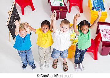 csoport, gyerekek, preschool