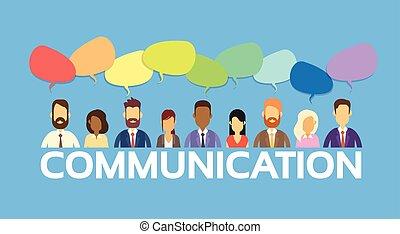 csoport, hálózat, ügy emberek, kommunikáció, csevegés, társadalmi, buborék