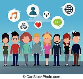 csoport, hálózat, emberek, média, ikonok, társadalmi