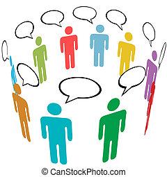 csoport, hálózat, emberek, média, jelkép, befest, társadalmi, beszél