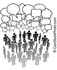csoport, hálózat, emberek, média, társaság, társadalmi, beszél