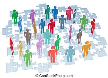 csoport, hálózat, fejtörő munkadarab, összeköttetés, emberi találékonyság
