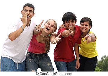 csoport, hívás, kiabálás, különböző, tizenéves kor, mosolygós, vagy, boldog
