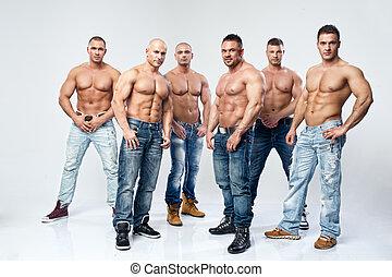 csoport, hat, fiatal, erős, meztelen, feltevő, nedves, szexi, jelentékeny, ember
