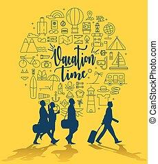 csoport, ikonok, utazás, idő, szünidő, elfoglaltság