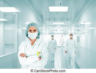 csoport, kórház, modern, labor, orvosok, befog, tudósok