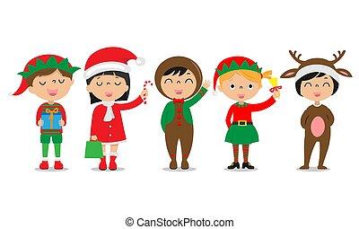 csoport, karácsony, gyerekek, motifs., öltözött