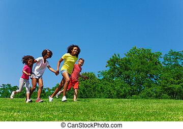 csoport, liget, gyermekek út, szegély kilátás