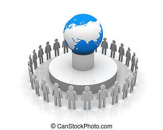 csoport, mindenfelé, ügy emberek, alakítás, földgolyó, földdel feltölt, karika