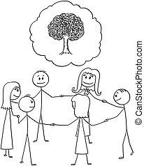 csoport, mindenfelé, emberek, kép, mindegyik, fa, vagy, más, hatalom kezezés, karika, befog, karikatúra