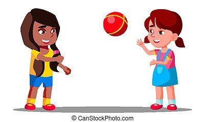 csoport, multicultural, elszigetelt, ábra, játék együtt, vector., gyerekek