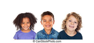 csoport, multiethnic, gyerekek