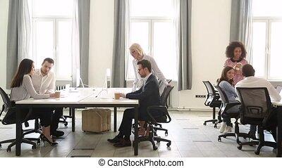 csoport, munka hivatal, emberek, modern ügy, különböző, belső, bot