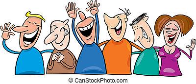 csoport, nevető, emberek