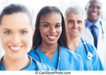 csoport, orvosi, closeup, befog