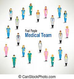 csoport, orvosi, gyűjt, nagy, vektor, tervezés, befog