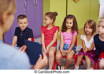 csoport, preschool, gyerekek