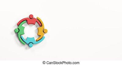 csoport, render, emberek, egyesítés, concept., ábra, befog, változatosság, 3