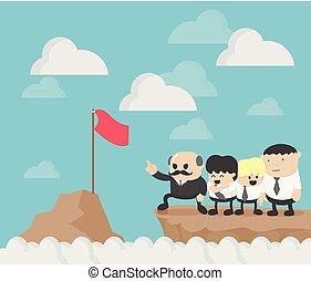 csoport, siker, 4, következő, vezető, businessmen