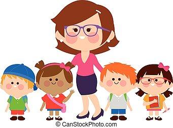 csoport, students., ábra, gyerekek, vektor, tanár