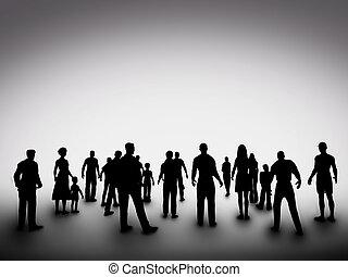csoport, társadalom, emberek, silhouettes., közösség, különféle, változatosság