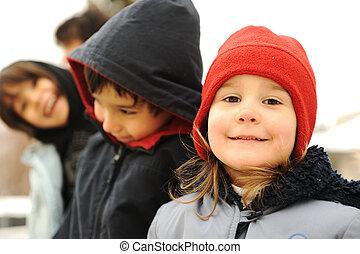 csoport, tél, külső, öltözék, gyerekek, boldog