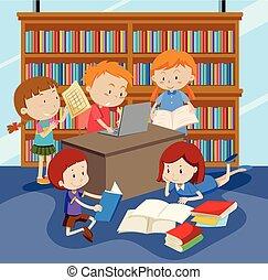 csoport, tanulás, gyerekek