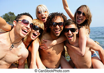 csoport, tengerpart, partying, felnőttek, fiatal