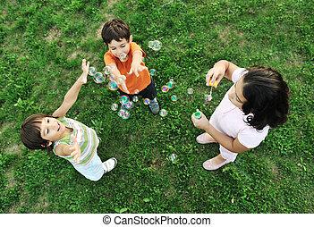csoport, természet, együtt, gyerekek, kicsi, gyártás, panama, játék, boldog