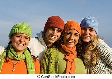 csoport, tizenéves, faj, fiatalság, kevert, tizenéves kor, gyerekek, vagy, boldog