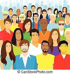 csoport, tolong, emberek, nagy, arc, különböző, kényelmes