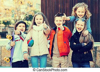 csoport, városi, feltevő, gyerekek, utca