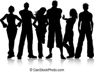 csoport, young emberek