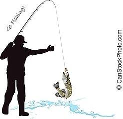 csuka, halászat, halász