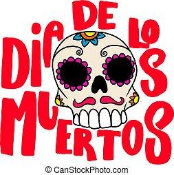 cukor, mexikói, vektor, poszter, tervezés, dead)., muertos, (day, felirat, háttér., elem, fehér, banner., frázis, elszabadult, ábra, koponya, ellen-, kártya, dia