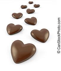 cukorkák, kevés, alakú, szív, csokoládé