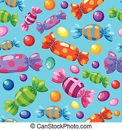 cukorkák, motívum, kék, seamless