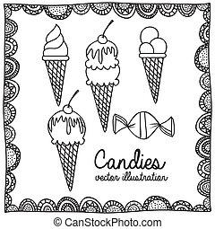 cukorkák, rajz