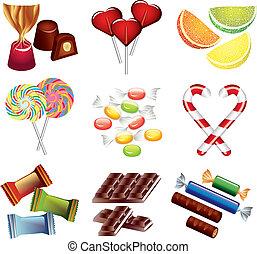 cukorkák, vektor, állhatatos, színes