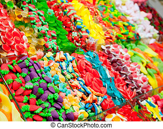 cukorka, bemutatás, zselé, színes, édesség