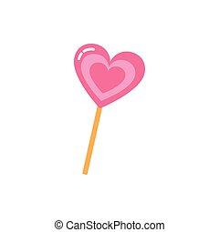 cukorka, tervezés, szív, elszigetelt, vektor