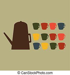 cup., illustration., vektor, teáskanna