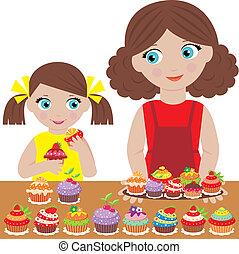 cupca, süt, lány, anya