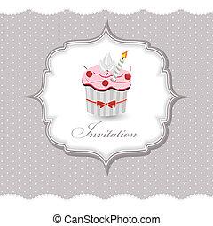 cupcake, vektor, kártya, ábra, meghívás