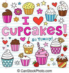 cupcakes, állhatatos, vektor, doodles