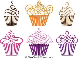 cupcakes, vektor, állhatatos