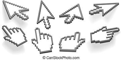 cursors, 8, fénykép, szög, kéz, változat, kurzor, nyíl, 3