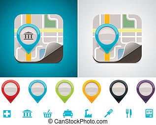 customizable, térkép, elhelyezés, ikon